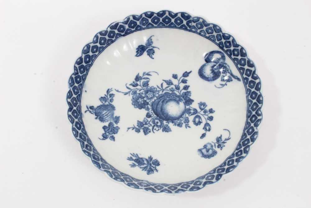 Caughley tea bowl and saucer, circa 1780, of fluted form, printed in blue with the 'Apple' pattern, - Image 2 of 8