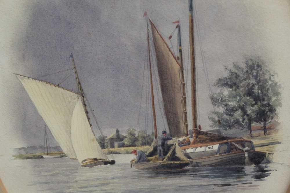 Stephen Batcheldar (1849-1932) pair of Broadland watercolours in oval frames - Image 7 of 8