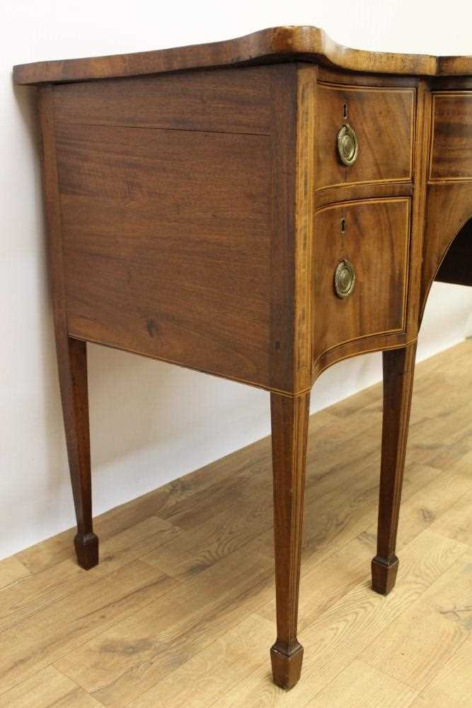 George III mahogany and satinwood banded serpentine sideboard of small proportions - Image 7 of 9