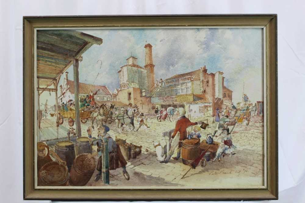 Peter Proud, watercolour - Adnams Brewery, Southwold, signed and dated '70, in glazed frame - Image 2 of 7