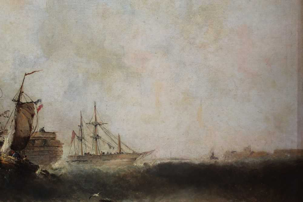 Manner of William Henry Williamson oil on canvas - shipping off the coast, in gilt frame - Image 23 of 27