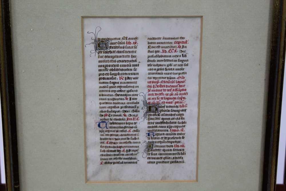 14th century French breviary leaf, framed and glazed, the leaf 13.5cm x 9cm