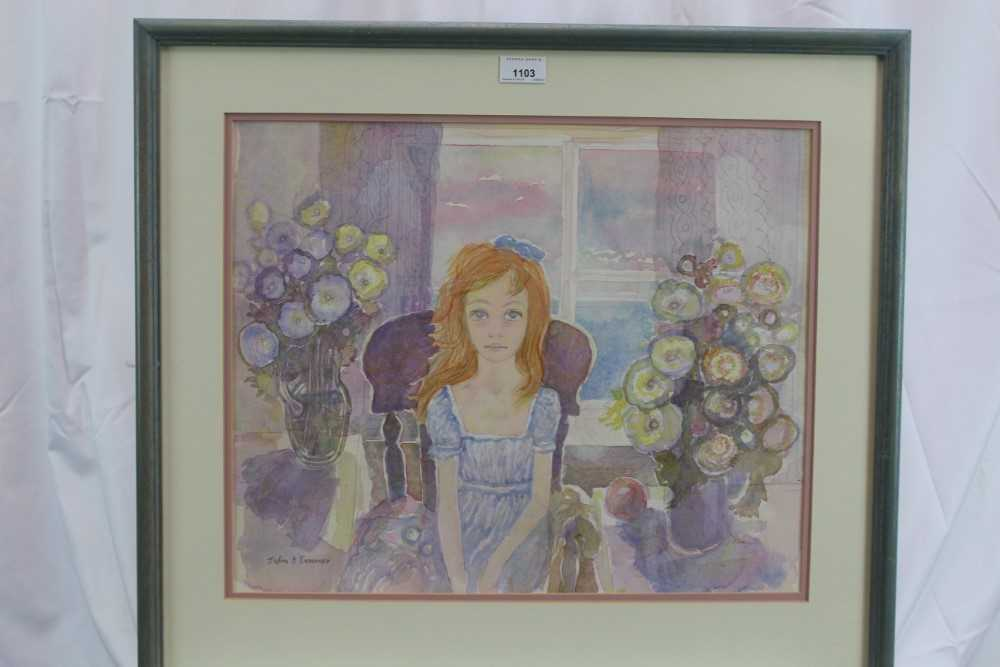 John Scorror O'Conner (1913-2004) watercolour, seated girl, signed. - Image 2 of 4