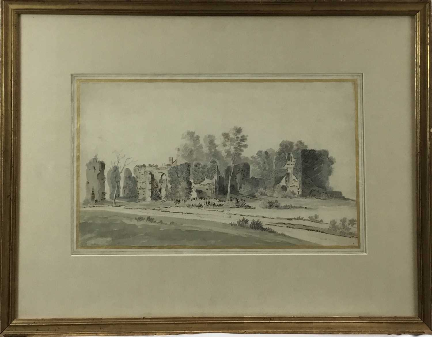 English School, early 18th century, monochrome pen, ink and watercolour - Castle Ruins, with mark fo