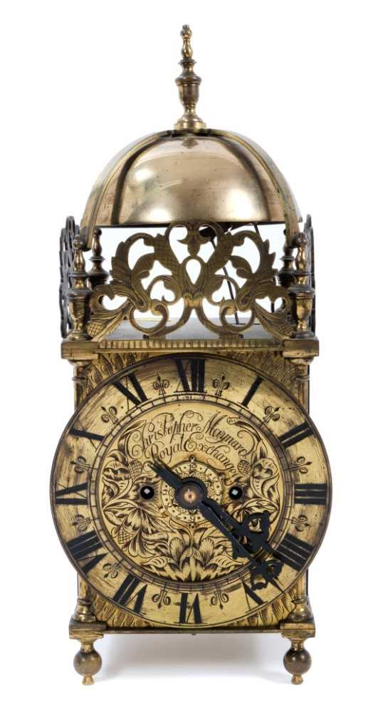 Good quality brass lantern clock Provenance: Removed from Argyll House, Kings Road, London