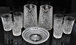 Good quality 19th century hobnail cut glassware, including two jugs, six tumblers and five dishes
