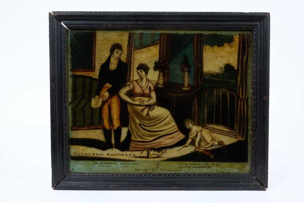 19th century reverse print on glass, titled 'Connubial Happiness' in ebonised frame, 23 x 28cm