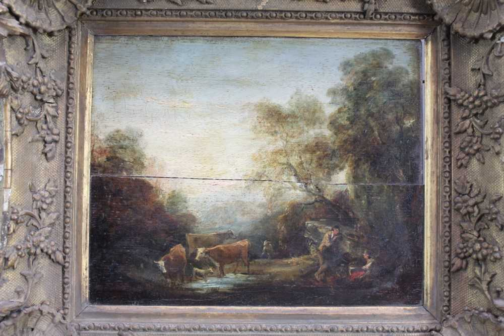 Manner of Thomas Gainsborough oil on panel - cattle and herders in landscape, in gilt frame