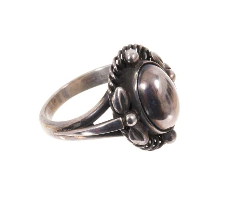 Georg Jensen silver 'moonlight blossom' dress ring with an cabochon silver centre in silver setting - Image 2 of 3
