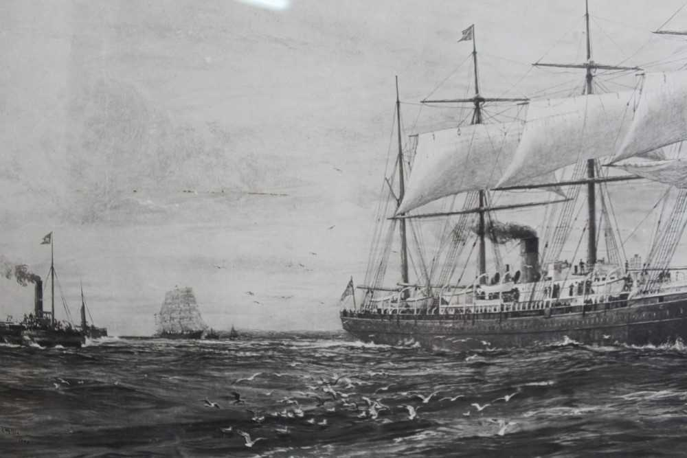 """William Lionel Wyllie (1851-1931) signed black and white engraving - White Star Line """"The Oceanic"""", - Image 9 of 15"""