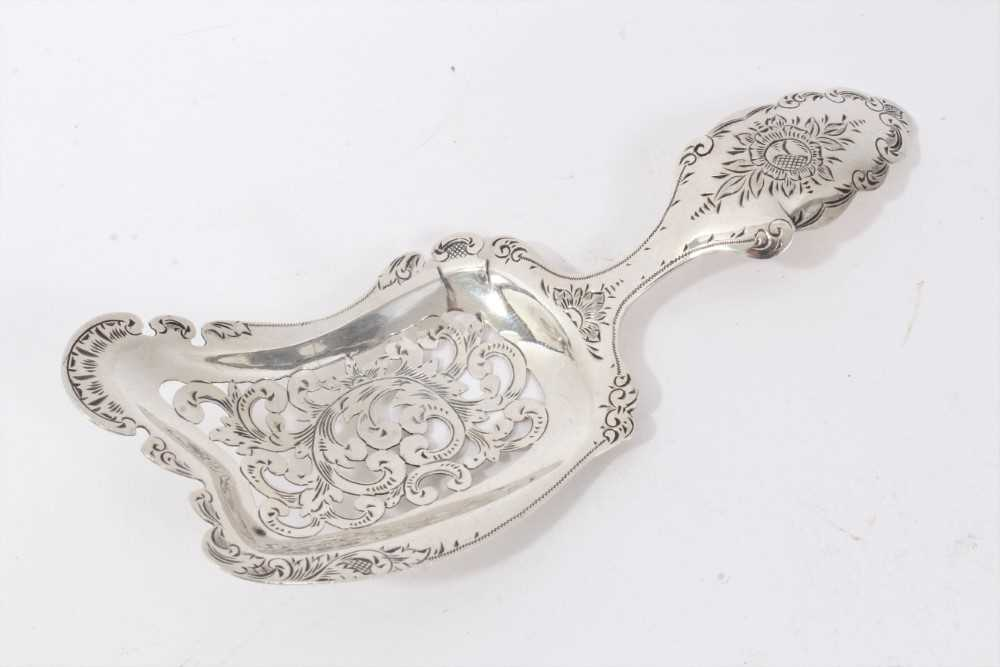 Dutch silver sifter spoon of rectangular form with foliate pierced bowl