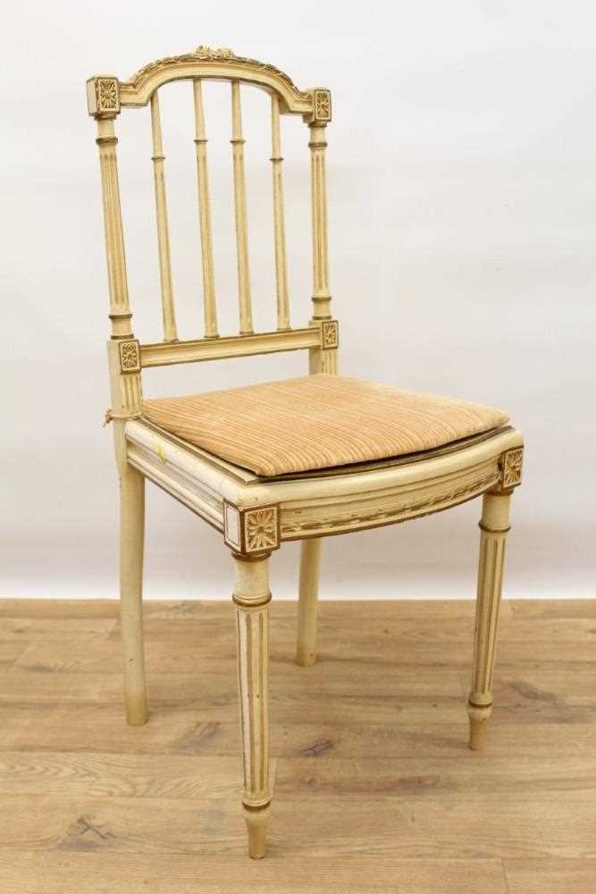 Late 19th / early 20th century French cream painted bergère suite - Image 7 of 16
