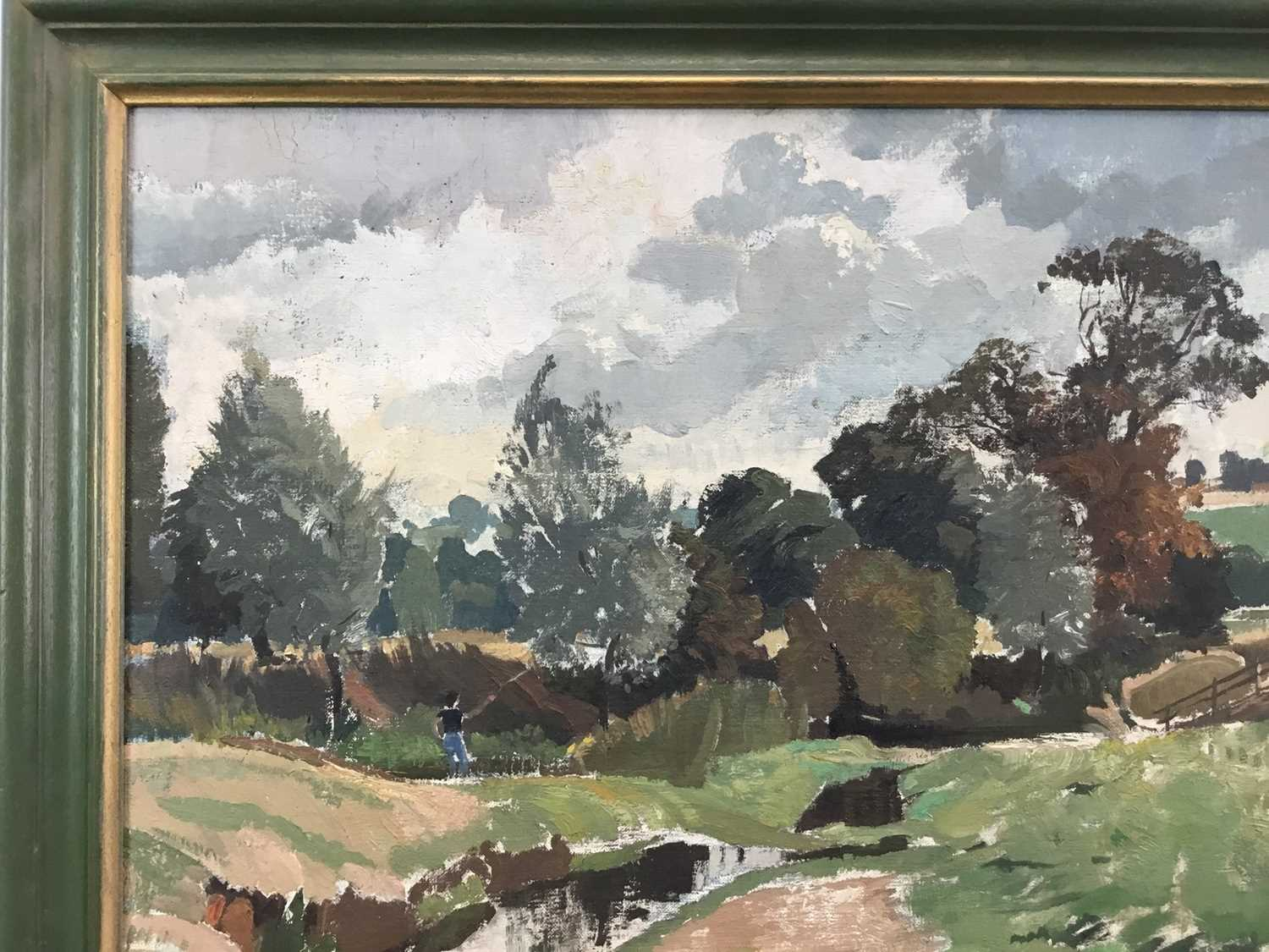 Adrian Chorley, oil on board, figures at Nayland - Image 5 of 7