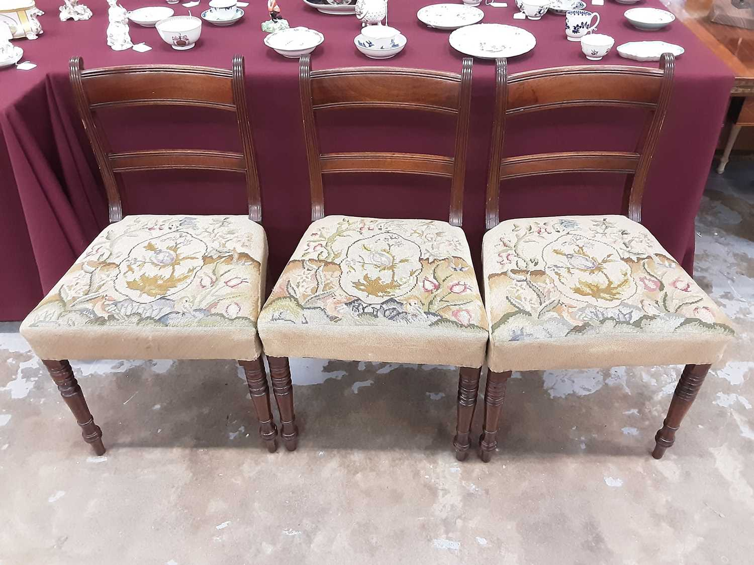 Set of eight Regency mahogany dining chairs, each with bar back and tapestry seat on ring turned leg - Image 3 of 3