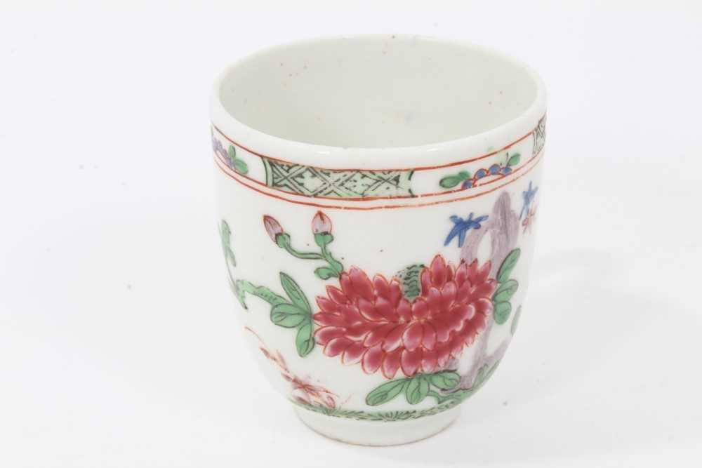 Bow coffee cup, circa 1752, decorated in the famille rose style with flowers and a patterned border, - Image 2 of 5