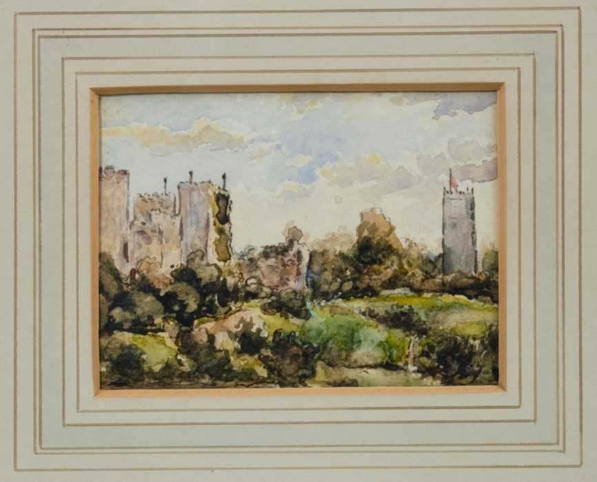 Attributed to Thomas Churchyard, watercolour - Framlingham Castle, in glazed gilt frame