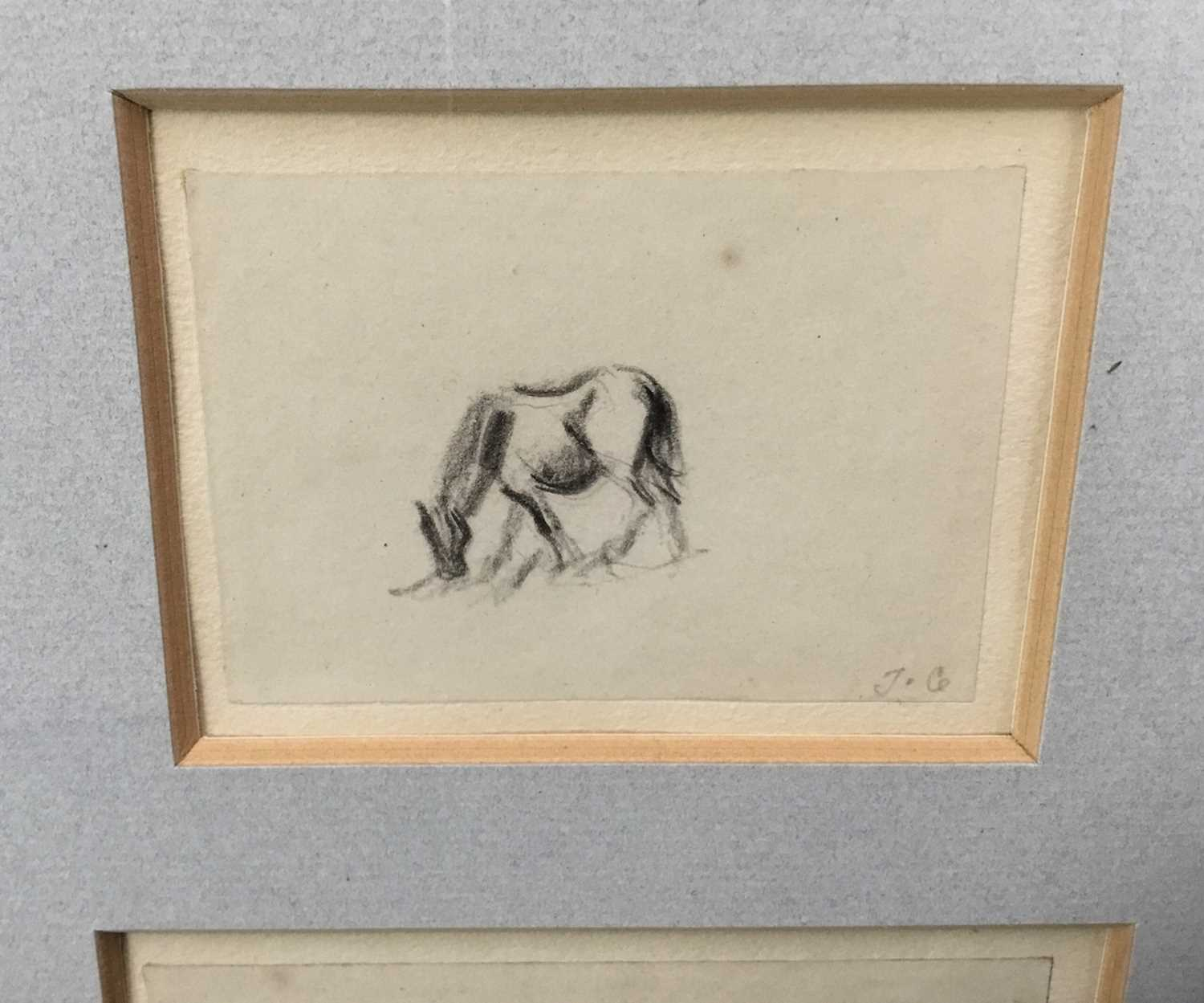 Thomas Churchyard, trio of pencil drawings of horses, framed as one - Image 4 of 9
