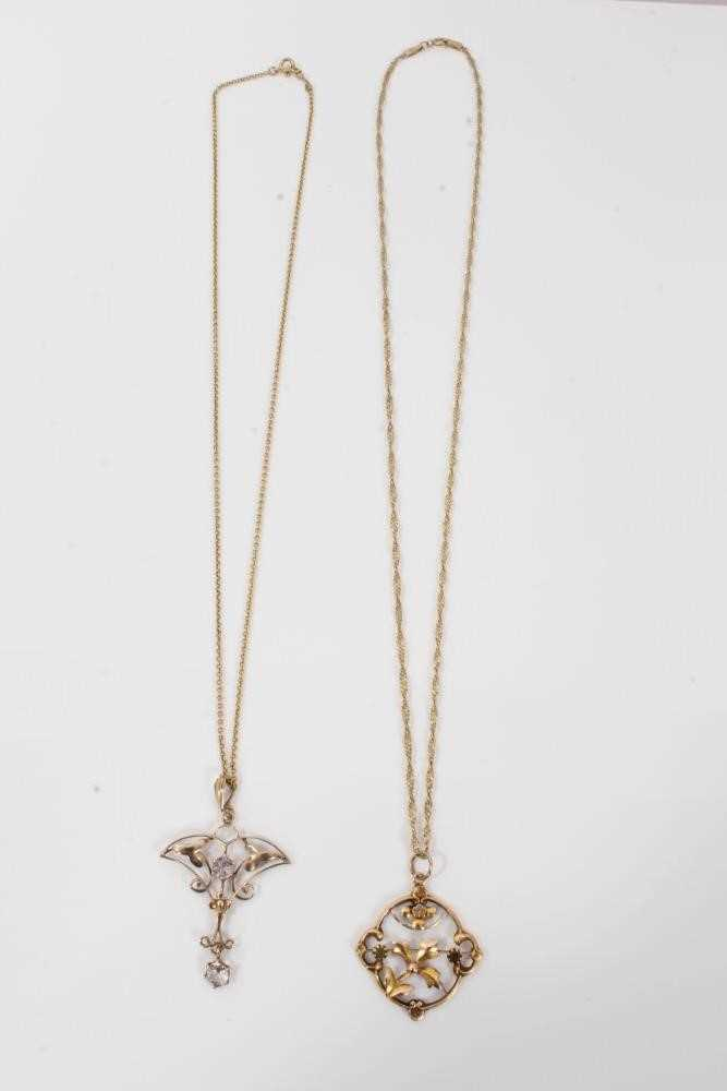 Two Edwardian gold and gem set pendants with openwork floral plaques on chains - Image 4 of 4
