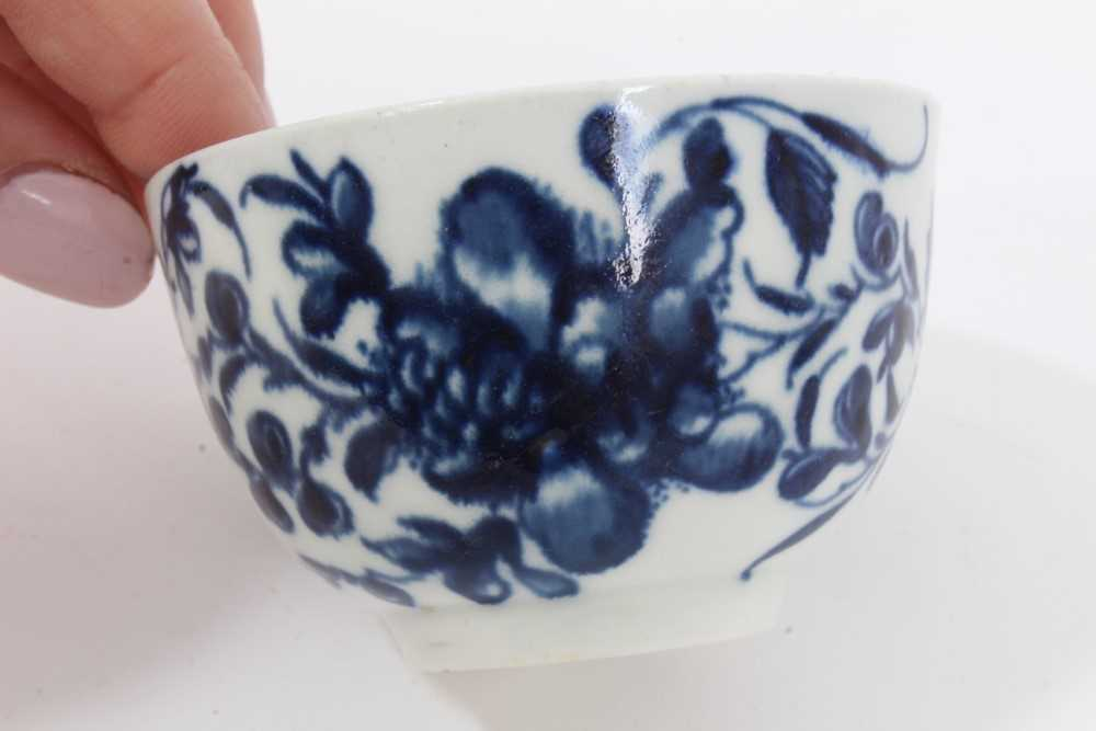 Worcester tea bowl and saucer, circa 1758, painted in blue with the Prunus Root pattern, together wi - Image 9 of 12