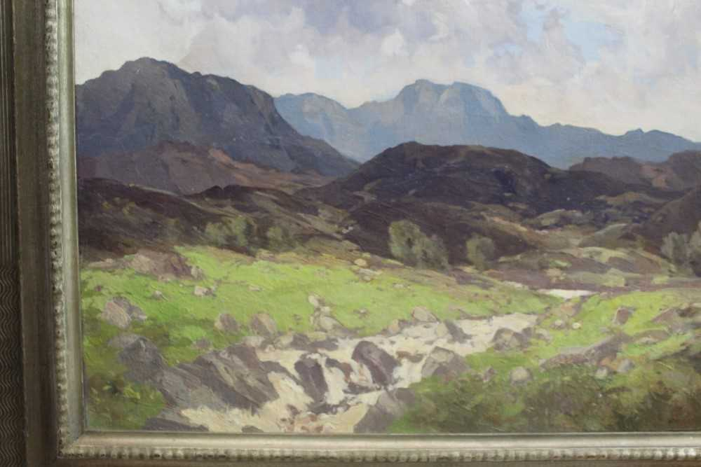 Lewis Taylor Gibb (1873-1945) oil on canvas - Extensive Scottish Landscape, signed, 63cm x 76cm, in - Image 9 of 14