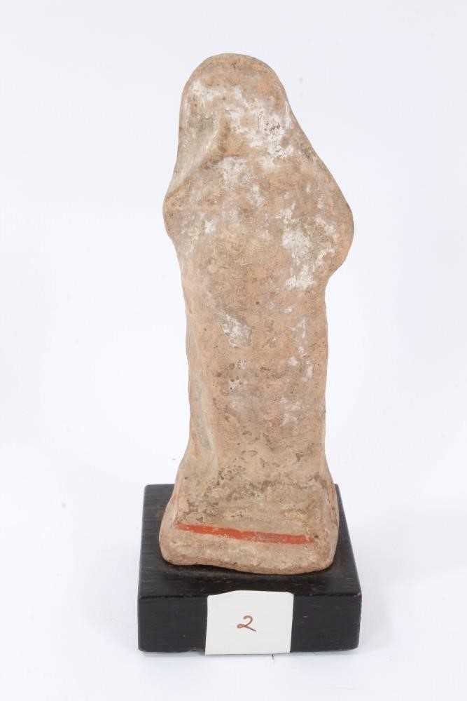 Two Tanagra terracotta figures together with a Tanagra head fragment - Image 4 of 7