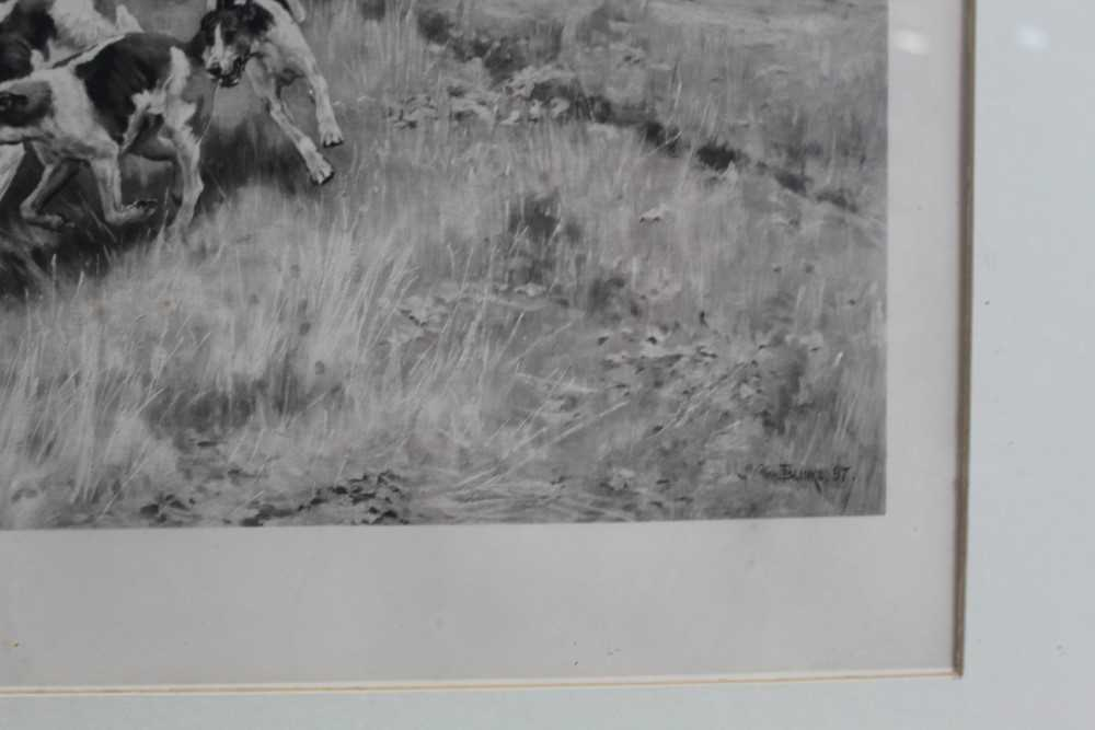 Thomas Blinks (1860-1912) three signed photogravures - Hunting Scenes, 40cm x 57cm, in glazed frames - Image 12 of 15