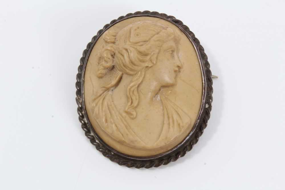 Two late 19th century Italian carved lava cameos depicting classical female busts, one titled to the - Image 2 of 5