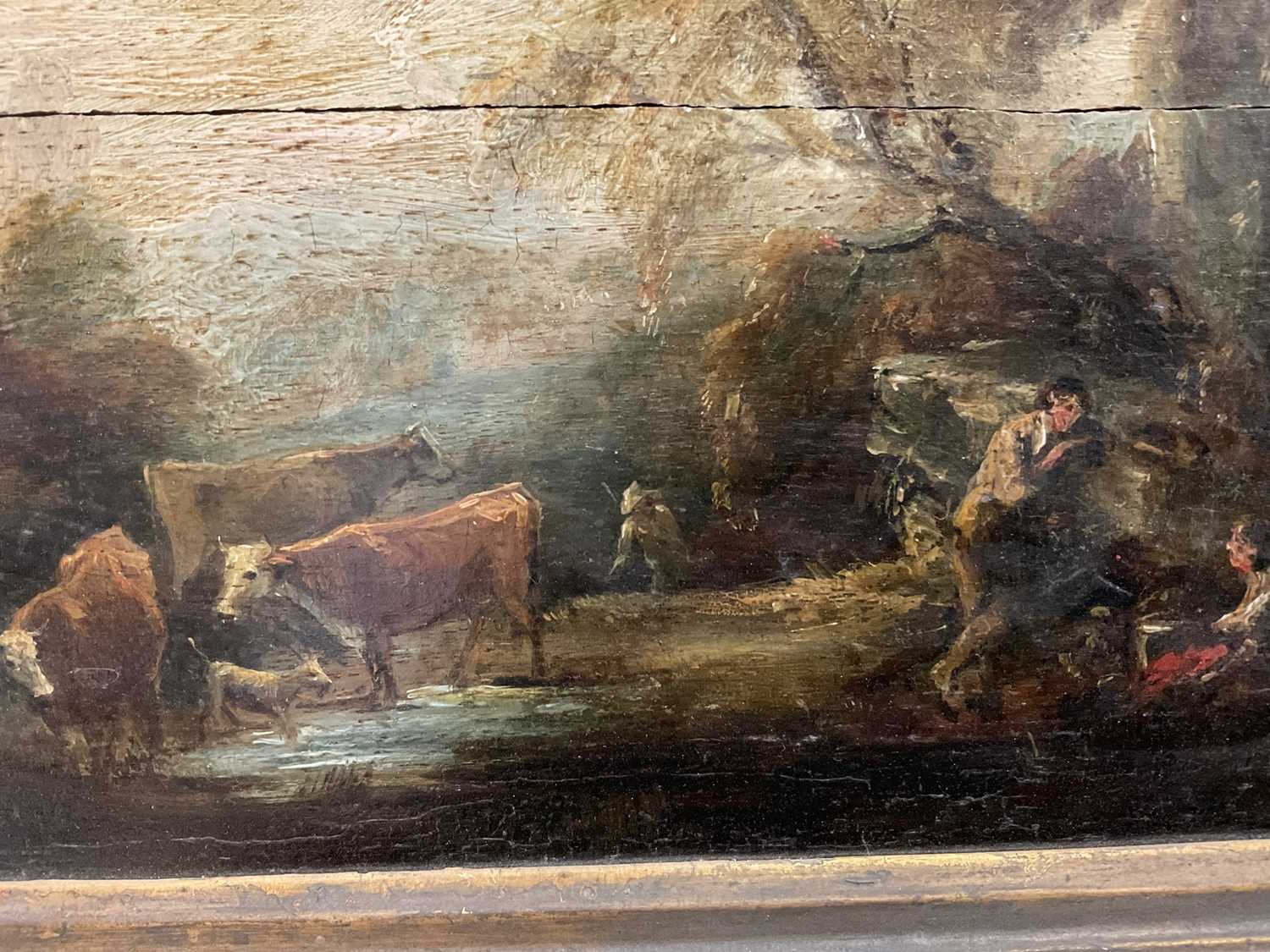 Manner of Thomas Gainsborough oil on panel - cattle and herders in landscape, in gilt frame - Image 10 of 15