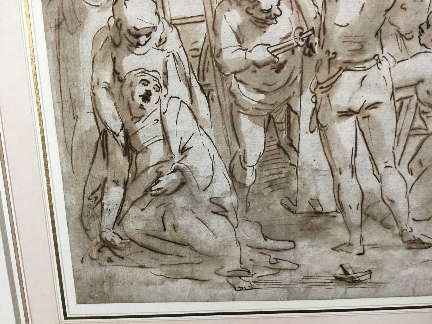 After Luca Cambiaso (1527-1585) 16th century drawing, pen and ink with wash, watermark, 'The Descent - Image 8 of 13
