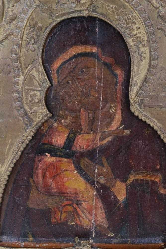 19th century Russian icon, with metal oklad. - Image 2 of 6