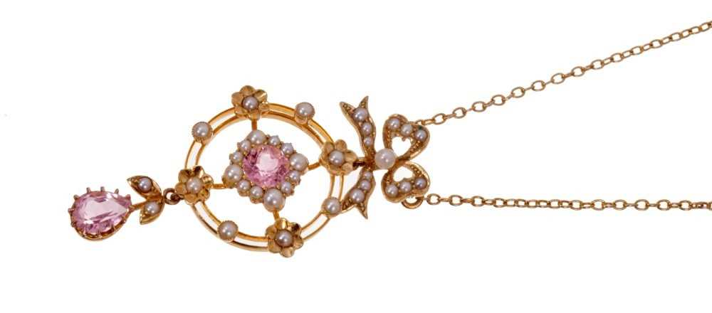 Edwardian 15ct gold pink stone and seed pearl pendant necklace on chain