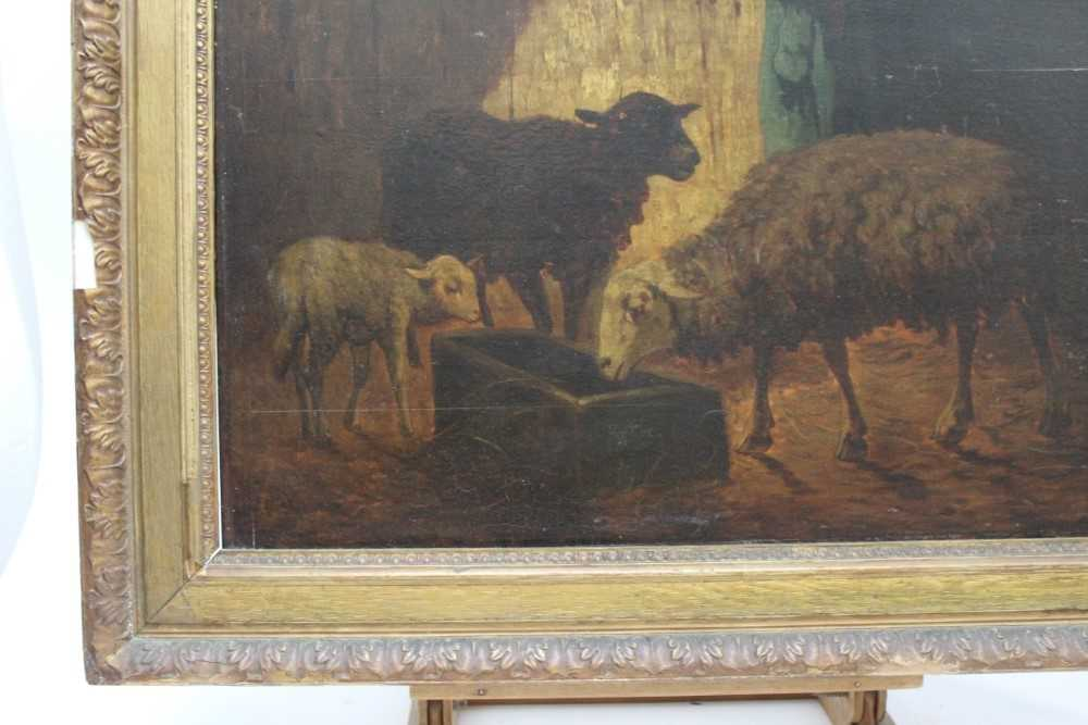 Louis Marie Dominique Robbe (1806-1887) oil on panel - sheep in a barn, signed, 41cm x 56cm, in gilt - Image 7 of 9