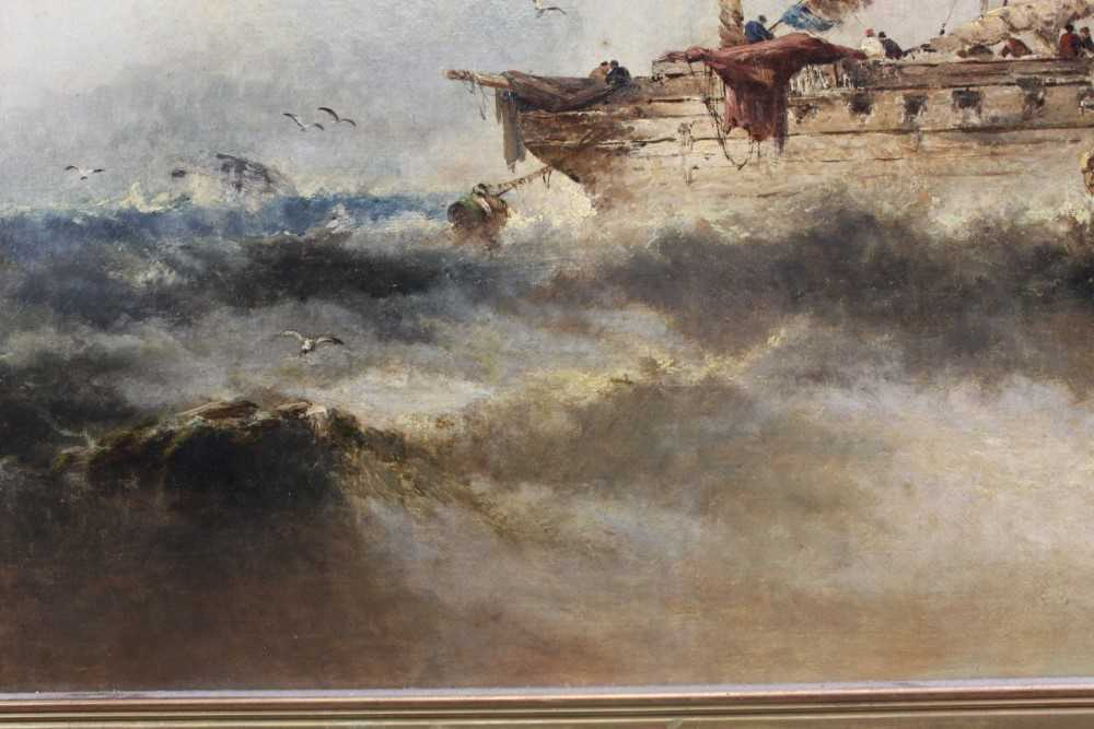 Manner of William Henry Williamson oil on canvas - shipping off the coast, in gilt frame - Image 19 of 27