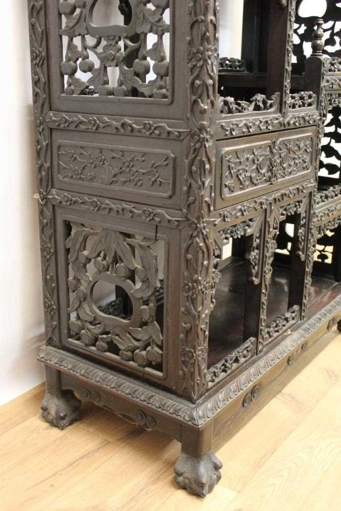 Late 19th century Chinese carved rosewood display cabinet - Image 8 of 13