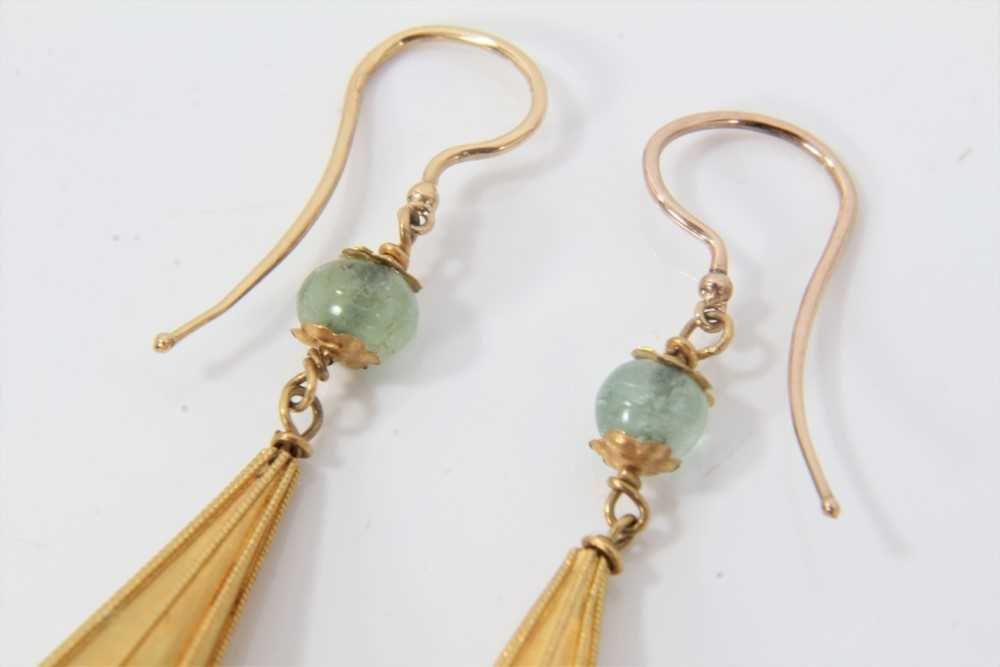 Pair of Etruscan revival gold, emerald and sapphire bead pendant earrings, each with a emerald bead - Image 2 of 3