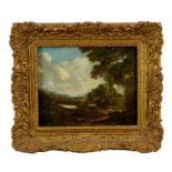Manner of Thomas Gainsborough, oil on panel - cattle and figure in rural landscape, in gilt frame
