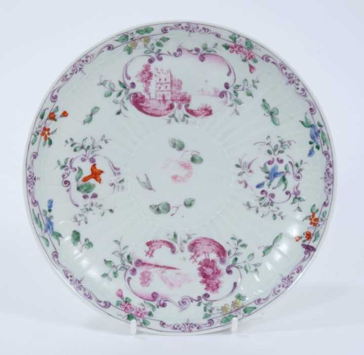 Worcester pleat-moulded saucer dish, circa 1756-58, painted in the Meissen style with puce landscape