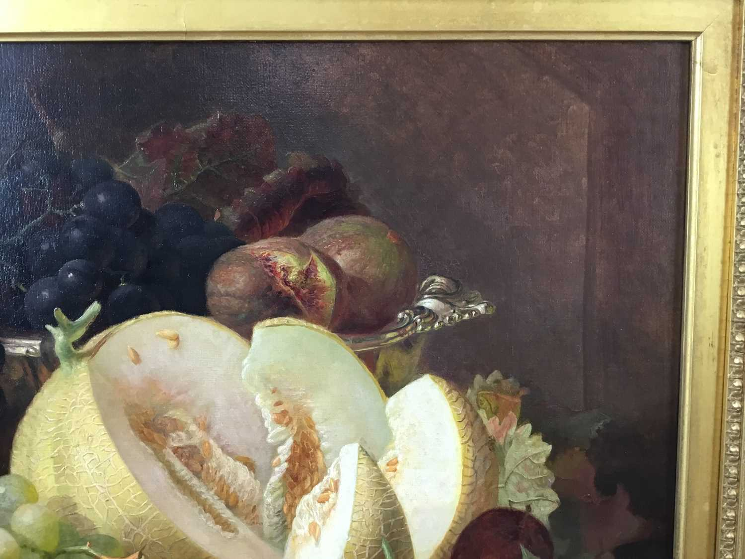 Eloise Harriet Stannard (1828-1915) oil on canvas, Peaches and grapes - Image 10 of 10
