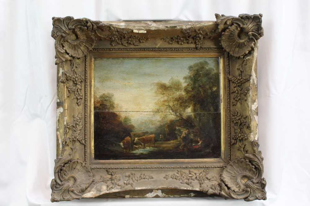 Manner of Thomas Gainsborough oil on panel - cattle and herders in landscape, in gilt frame - Image 2 of 15