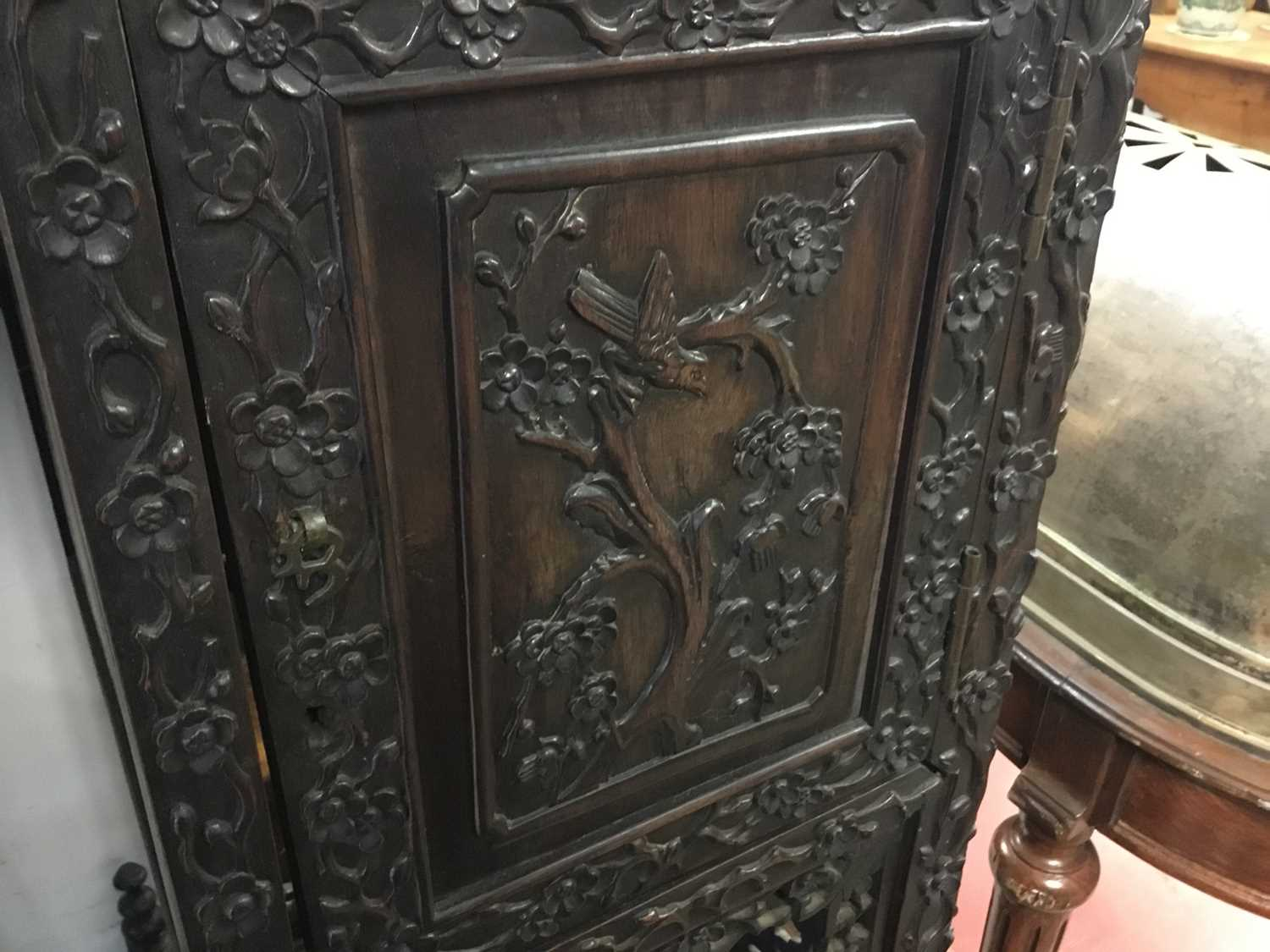 Late 19th century Chinese carved rosewood display cabinet - Image 11 of 13