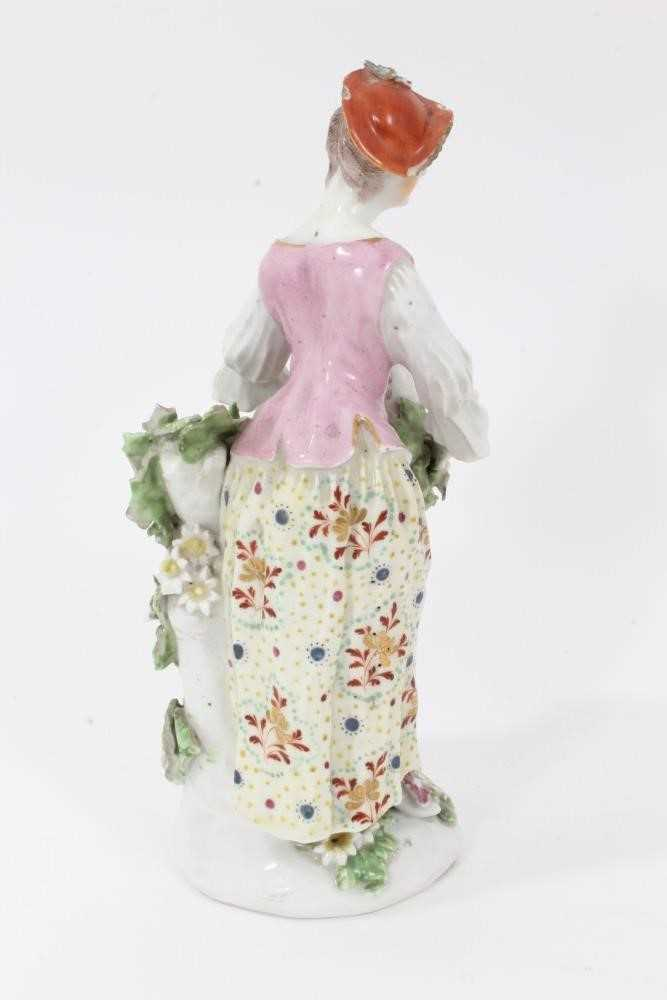 Derby figure of a shepherdess, circa 1760-65, polychrome and gilt decorated, shown garlanding a lamb - Image 3 of 9