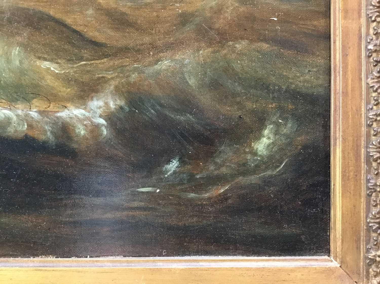 John Lynn (act.1826-1869) oil on canvas - British Frigate off Gibraltar, circa 1835, 49cm x 60cm, in - Image 12 of 15
