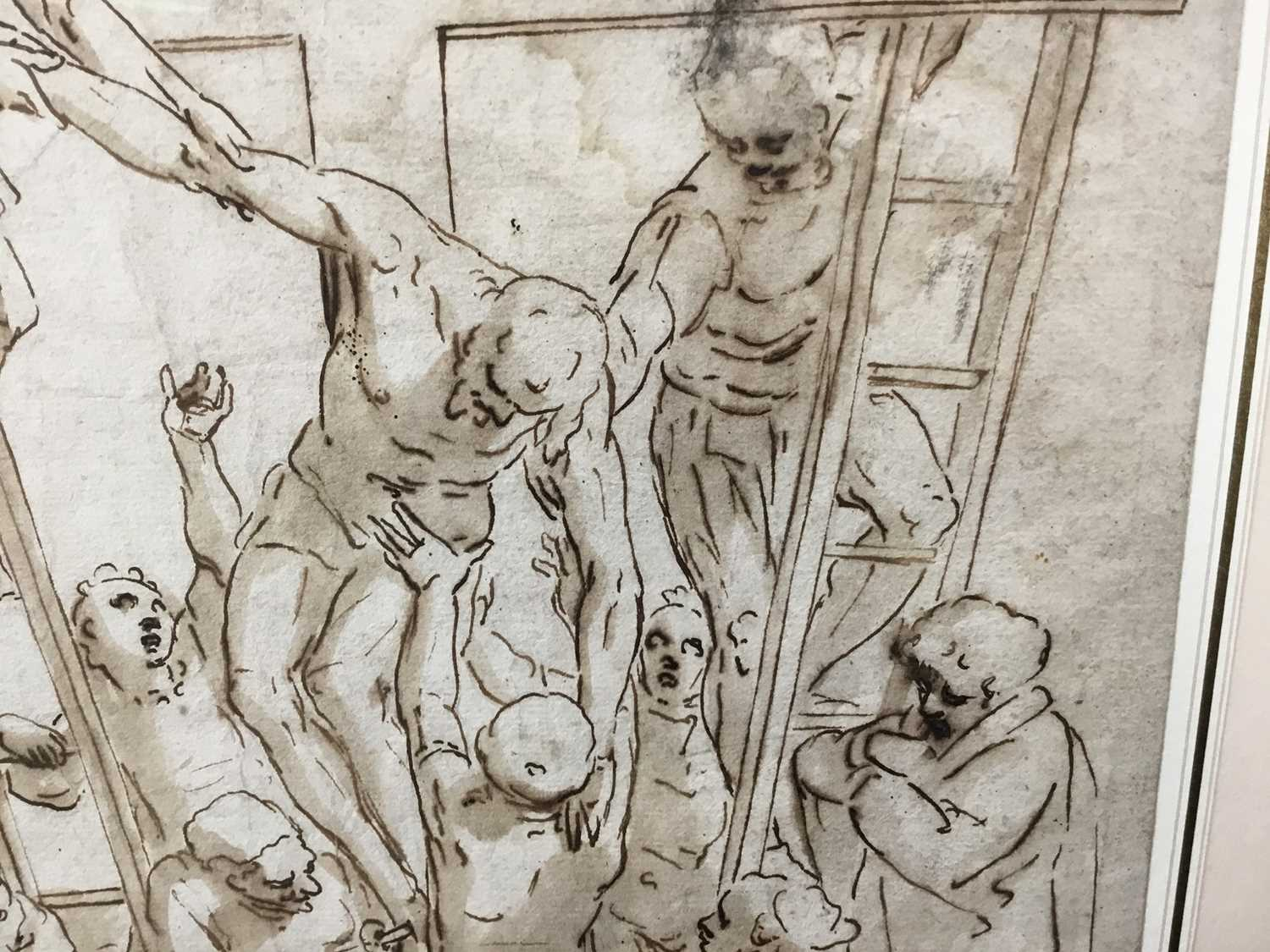 After Luca Cambiaso (1527-1585) 16th century drawing, pen and ink with wash, watermark, 'The Descent - Image 5 of 13