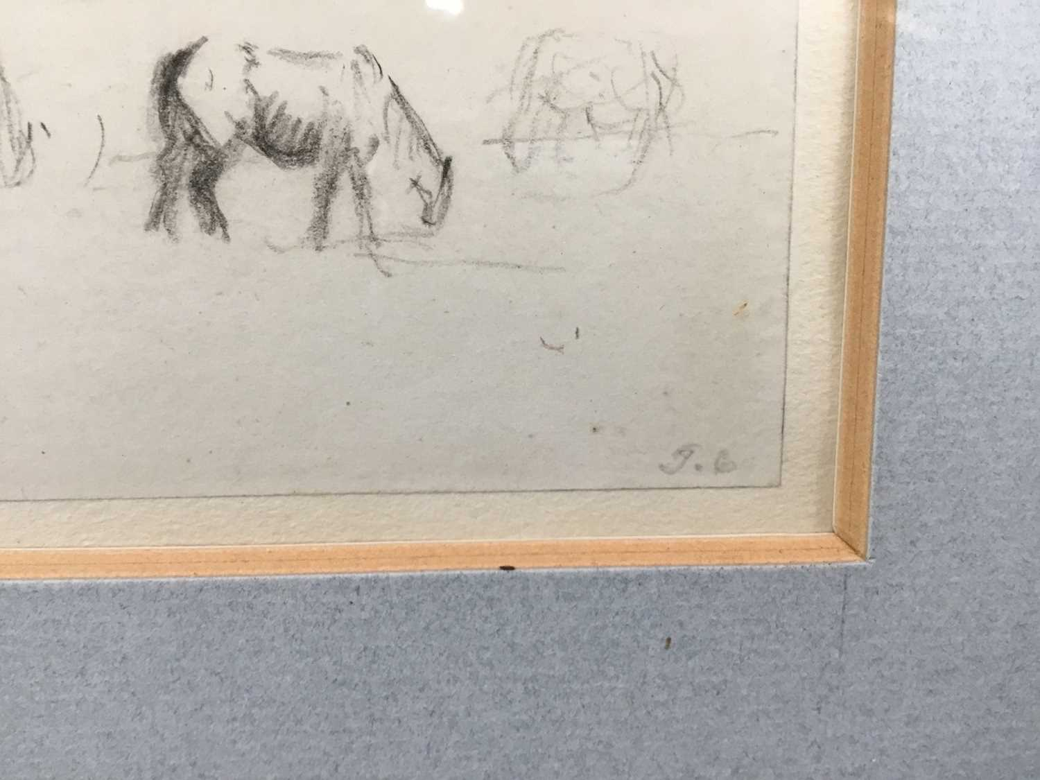 Thomas Churchyard, trio of pencil drawings of horses, framed as one - Image 6 of 9