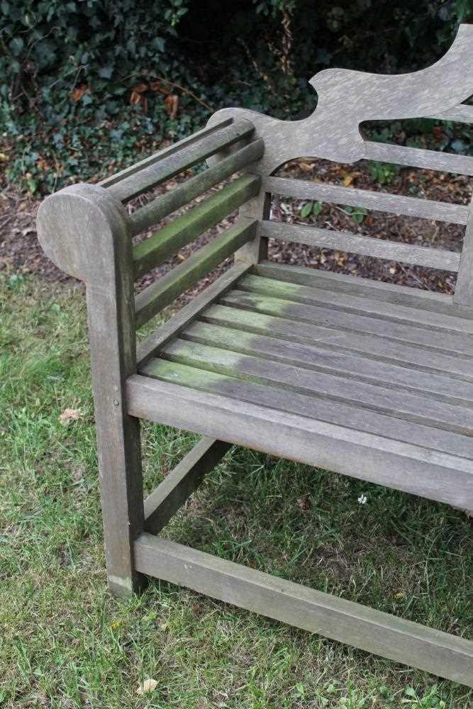 Lutyens style teak garden bench - Image 2 of 5