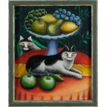 Jerzy Marek (1925-2014) oil on board - Adam and Eve, signed, framed, 27cm x 22cm