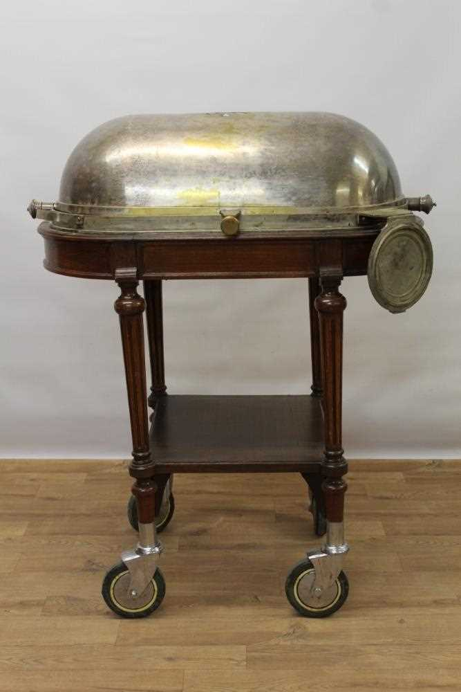 Impressive early 20th century mahogany serving trolley, with silver plated domed cylinder cover and - Image 2 of 8