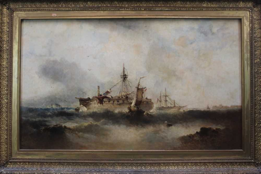 Manner of William Henry Williamson oil on canvas - shipping off the coast, in gilt frame - Image 2 of 27