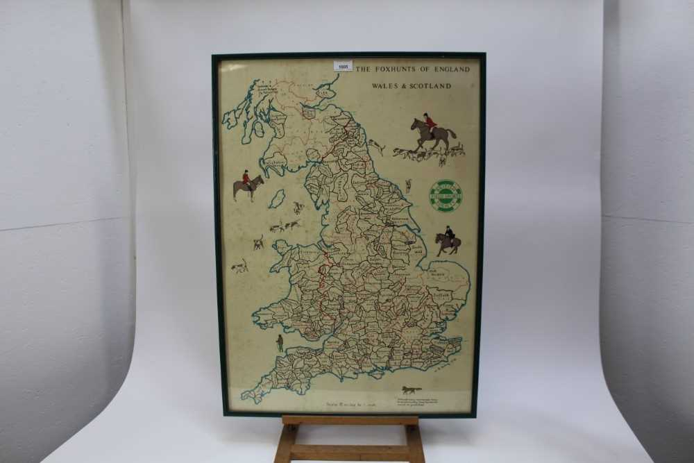 Hunting trophy in the form of a silver plated fox, mounted fox pad and Fox Hunt framed map