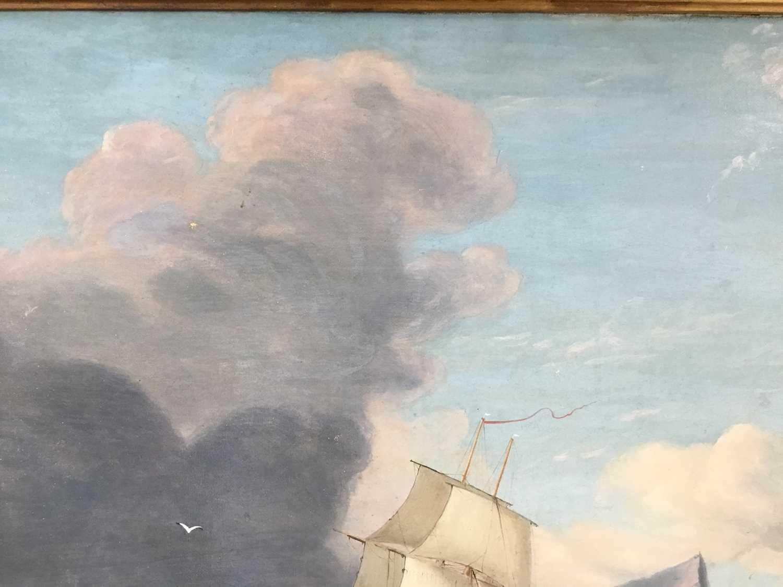 John Lynn (act.1826-1869) oil on canvas - British Frigate off Gibraltar, circa 1835, 49cm x 60cm, in - Image 5 of 15